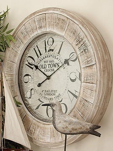 Deco 79 52139 Wood Wall Clock 31 D