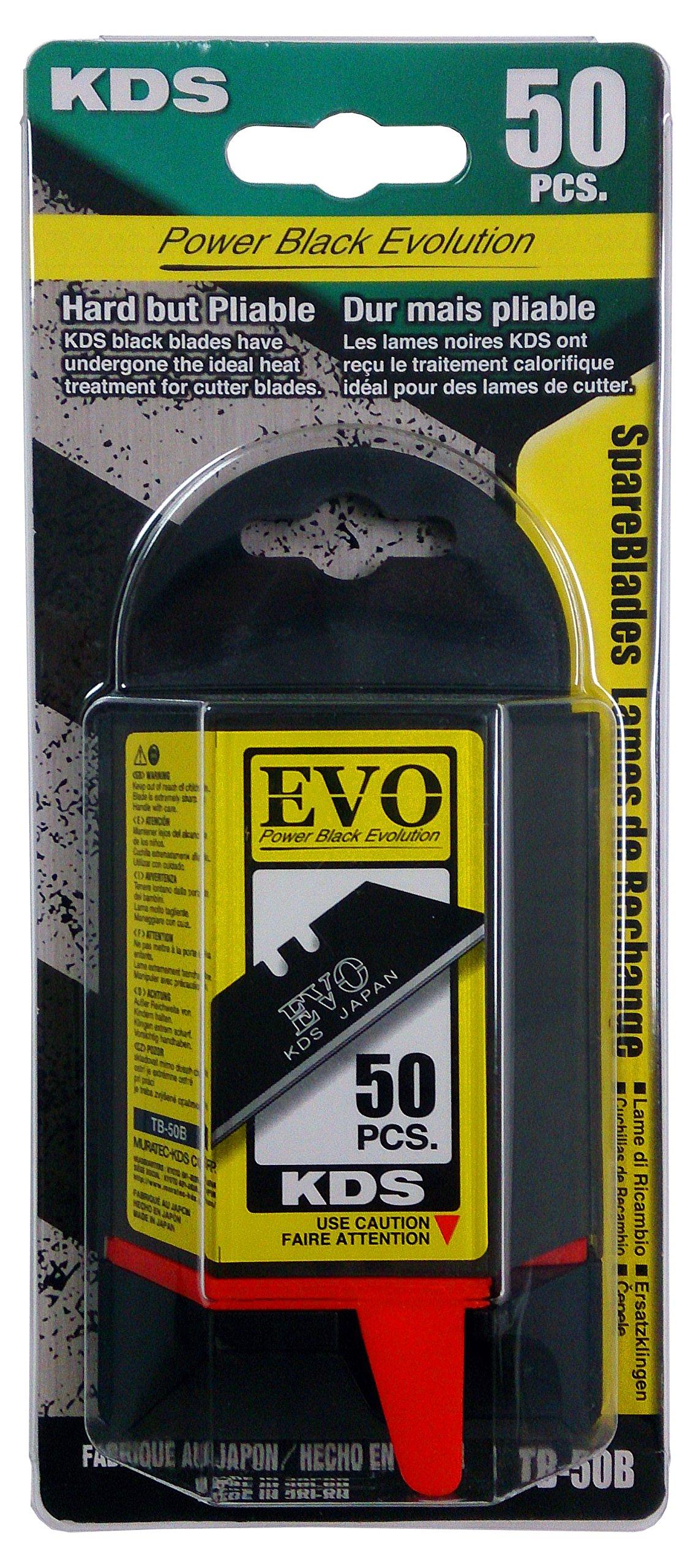 KDS TB-50B EVO High-Tempered Trapezoid Utility Knife Blades, Black