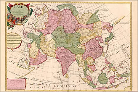 Map Of Asia In French.Amazon Com 16x24 Poster Map Of Asia 1700 In French P1