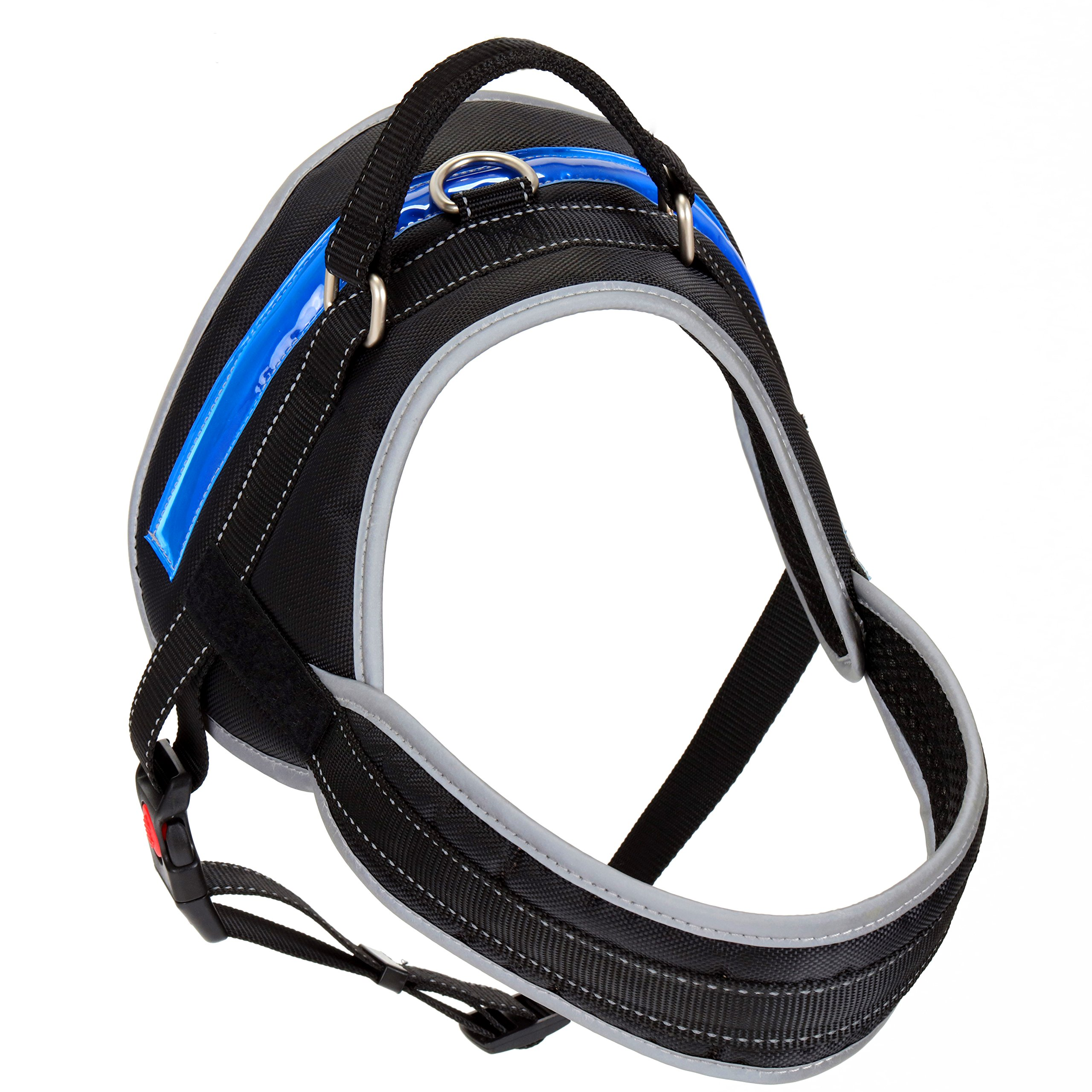 Heavy Duty Reflective Dog Harness with Safety Features [Premium Edition] Available in 4 Sizes, Specially Designed for Medium-Large Dog Breeds (Large, Electric Blue) by Pet Industries (Image #2)
