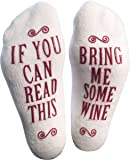 """Bring Me Some Wine"" Luxury Combed Cotton Socks - Perfect Hostess or Housewarming Gift Idea for Women, Cute Present for Wine Lover, New Mom or Wife - By Haute Soiree"
