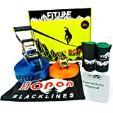 Complete Slackline Kit for Kids & Adults - 50 ft Fitline by HopOn Slacklines - Includes Training Line, 2x Treeguards Tree Protection + Carrying Bag - for Fitness, Balance, Exercise and Fun - Eas