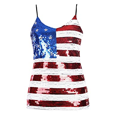 b6b30c31cf024d Blingstory Sexy Stripe Women s American Flag Print Tank Top Sequin Camisole  Vest (One Size