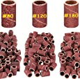 Belle 300pcs Sanding Bands for Nail Drill Bits, Normal 80 120 180 Grit each 100pcs, 0.25 inches dia x 0.5 inches