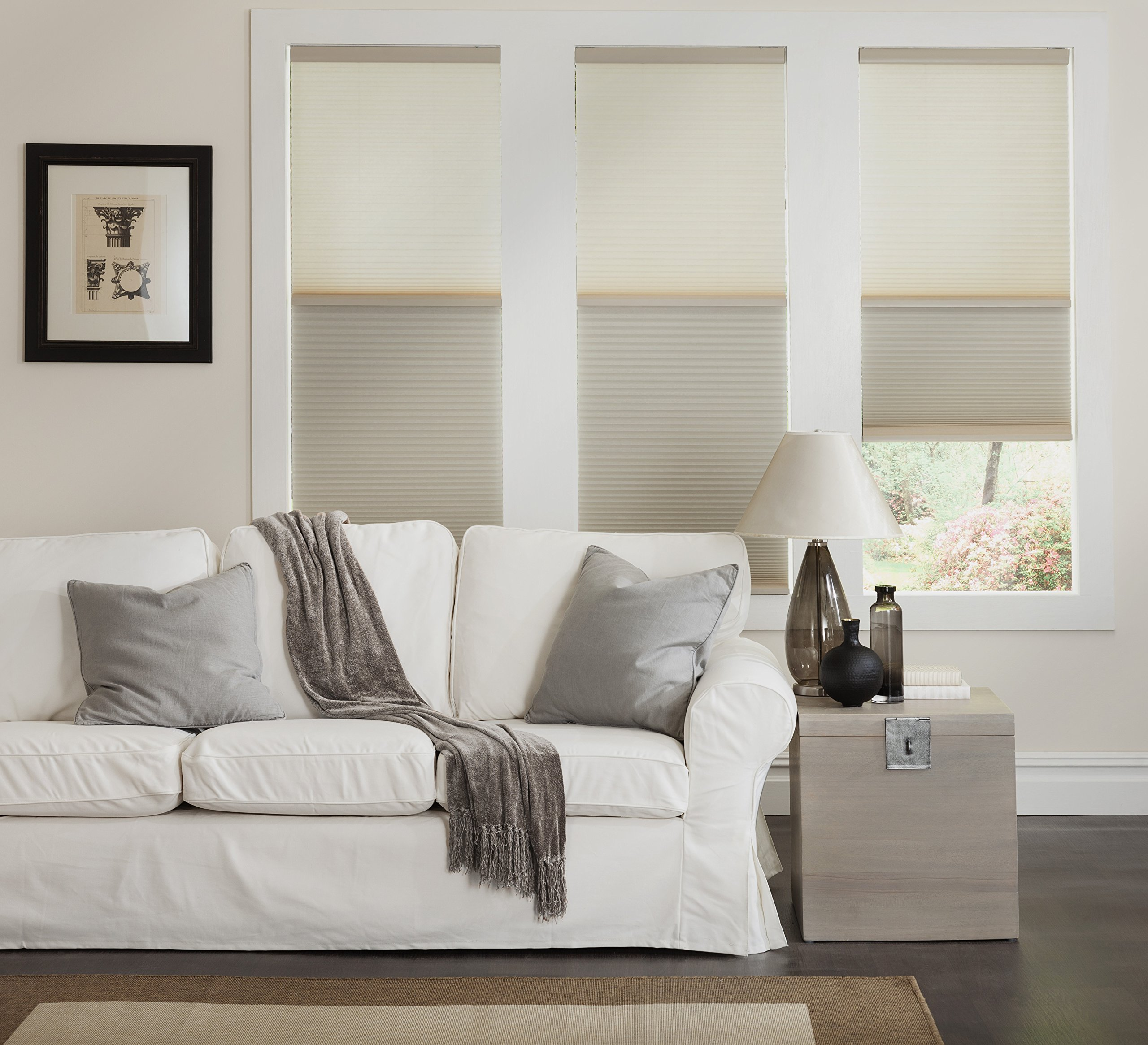 Cordless Day/Night Cellular Shade, 2 shades in 1-Blackout and Light Filtering in one shade. 51W x 37H, Ivory Beige
