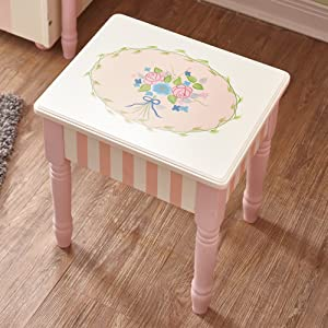 Teamson Design Corp Fantasy Fields - Bouquet Thematic Wooden Kids Makeup Vanity Stool - Storage Stools for Girls Bedroom - Pink & Flower