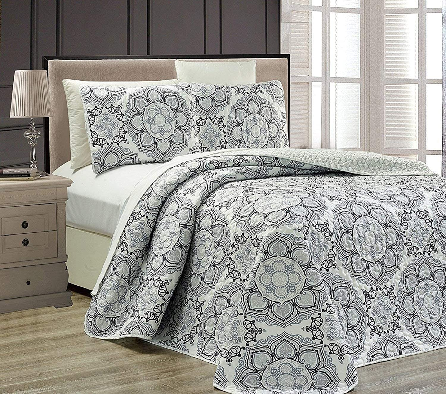 Mk Collection 3pc Queen Oversize Reversible Quilted Bedspread Set Floral Gray White Black New