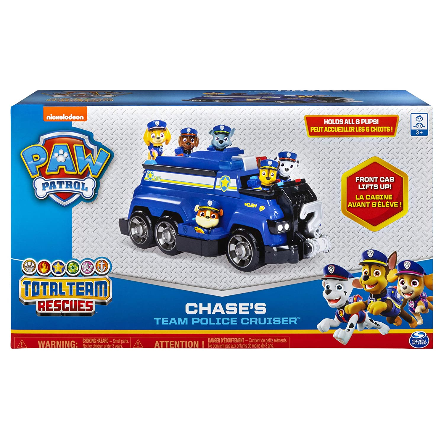 for Kids Aged 3 /& Up Paw Patrol Chase/'s Total Team Rescue Police Cruiser Vehicle with 6 Pups