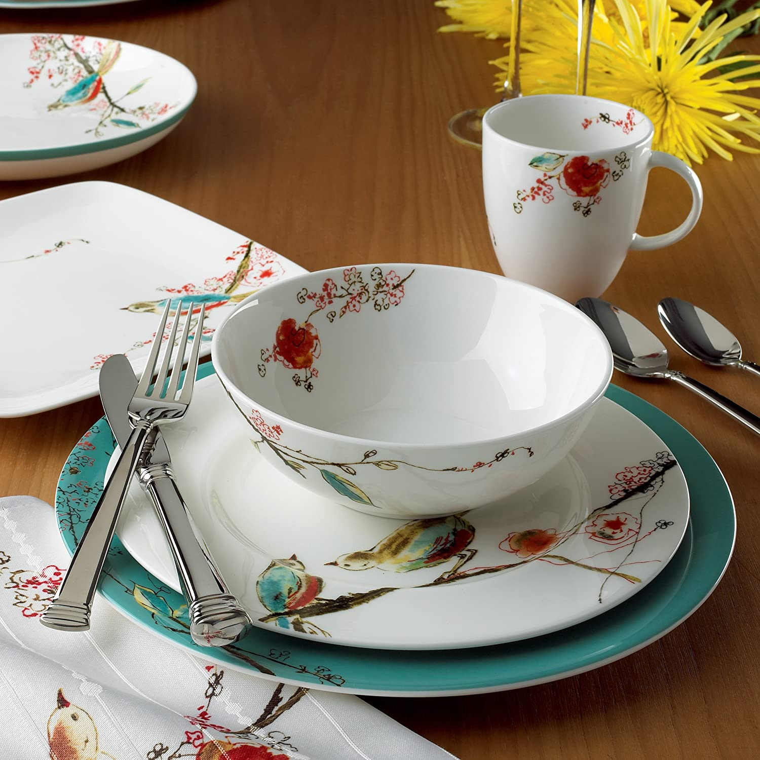 Amazon.com | Lenox Simply Fine Chirp 4-Piece Place Setting Service for 1 Dinnerware Sets Platters & Amazon.com | Lenox Simply Fine Chirp 4-Piece Place Setting Service ...