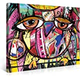 Large Canvas Print Wall Art – OWL DOODLE – 40x30 Inch Abstract Canvas Picture Stretched On A Wooden Frame – Giclee Canvas Printing – Hanging Wall Deco Picture / e7284