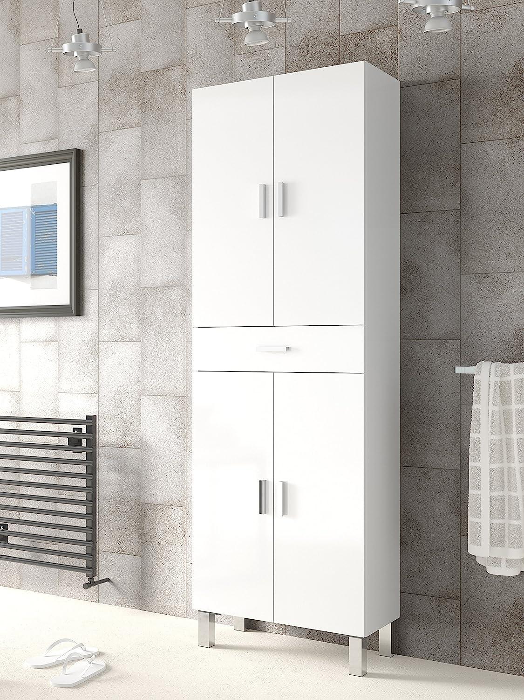 Abitti Mueble de baño o Aseo con Dos Puertas Superiores e Inferiores separadas por un cajón Color Blanco brillo182x60x29cm