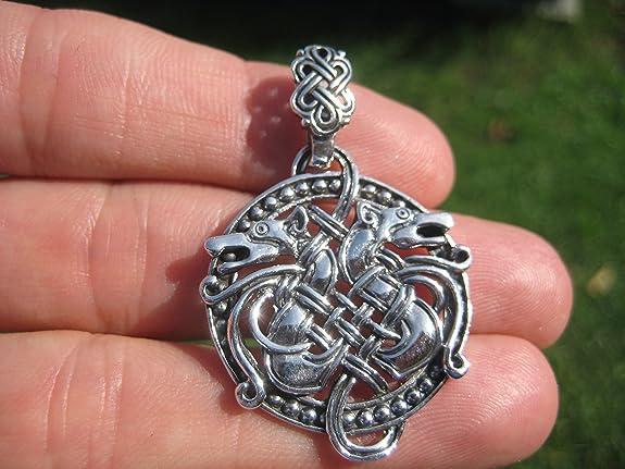 Himalayan Treasures 925 Sterling Silver Celtic Dragon Pendant Necklace A20 tdvrdrCmN