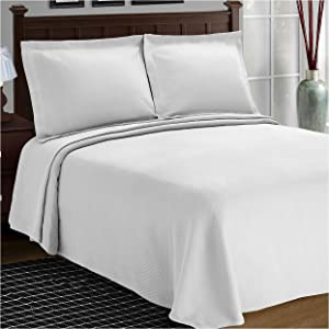 SUPERIOR Cotton Bedspread and Pillow Shams - Jacquard Matelassee Coverlet, Cotton Quilt, White, Queen Size
