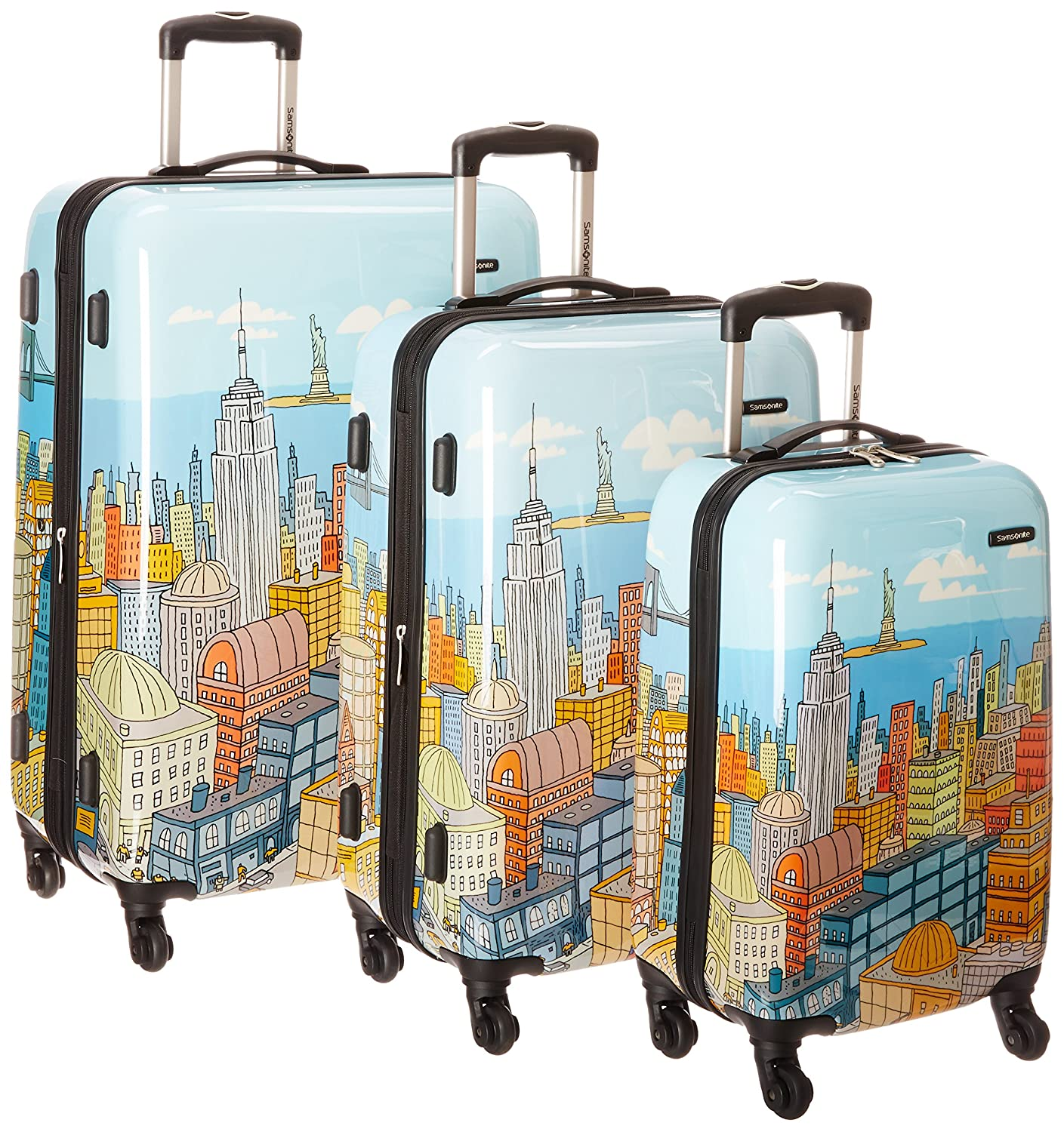 amazon com samsonite nyc cityscapes 3 piece set 20 24 28 blue