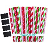 Outside the Box Papers Strawberry Shortcake Theme Polka Dot and Striped Paper Straws 7.75 Inches 100 Pack Red, Pink, Lime Green, White