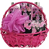 Mother s Day Gift Set, Bath Gift Basket, Spa Gift Basket, Bath and Body with Orchid Scent, Spa Basket, Includes Shower Gel, Bubble Bath, Body Lotion, Bath Salt, and Bath Puff