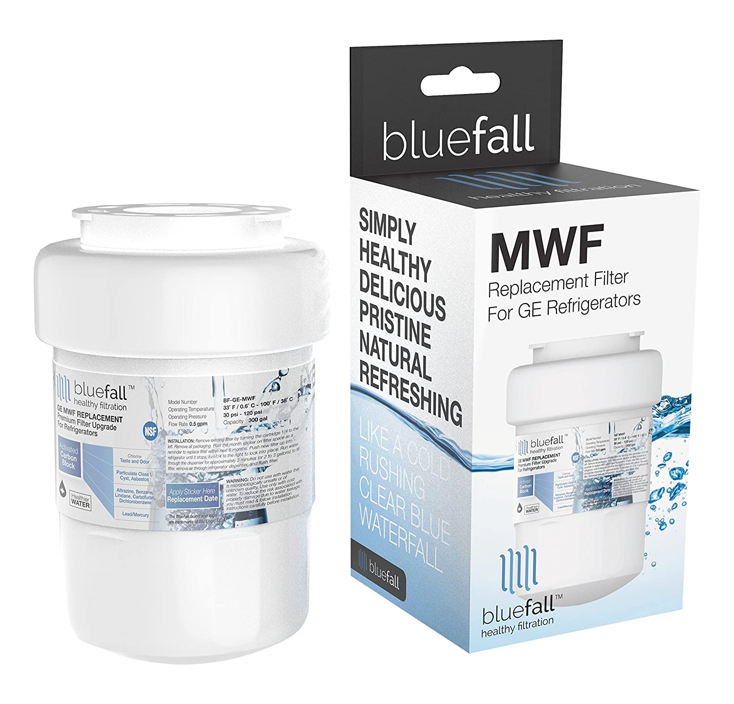 BLUEFALL GE MWF Refrigerator Water Filter Smartwater Compatible Cartridge