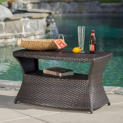 Amazoncom Banta Outdoor Wicker Side Table MultiBrown Garden - All weather wicker side table