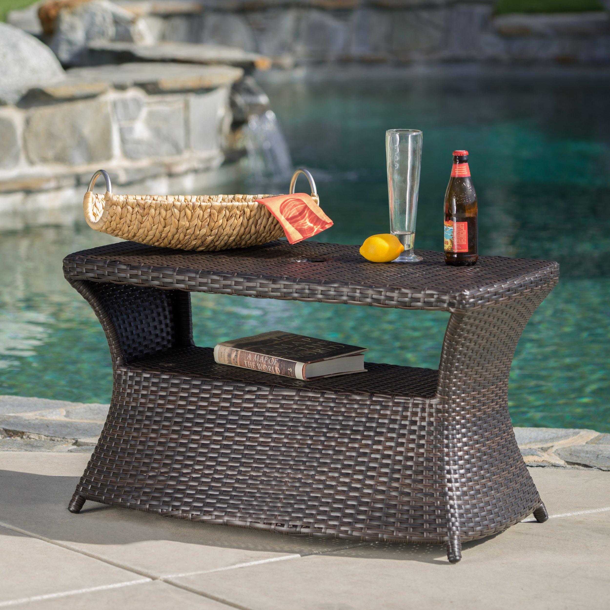 Banta Outdoor Wicker Side Table (MultiBrown)
