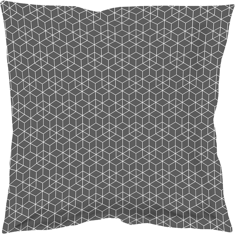 Douceur dInt/érieur OPTIC Taie Oreiller Volant Plat Coton Anthracite//Blanc 63 x 63 cm