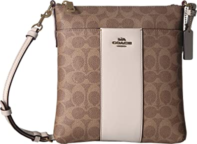 COACH Women s Messenger Crossbody in Color Block Coated Canvas Signature  B4 Tan Chalk One Size 4e743db81a524