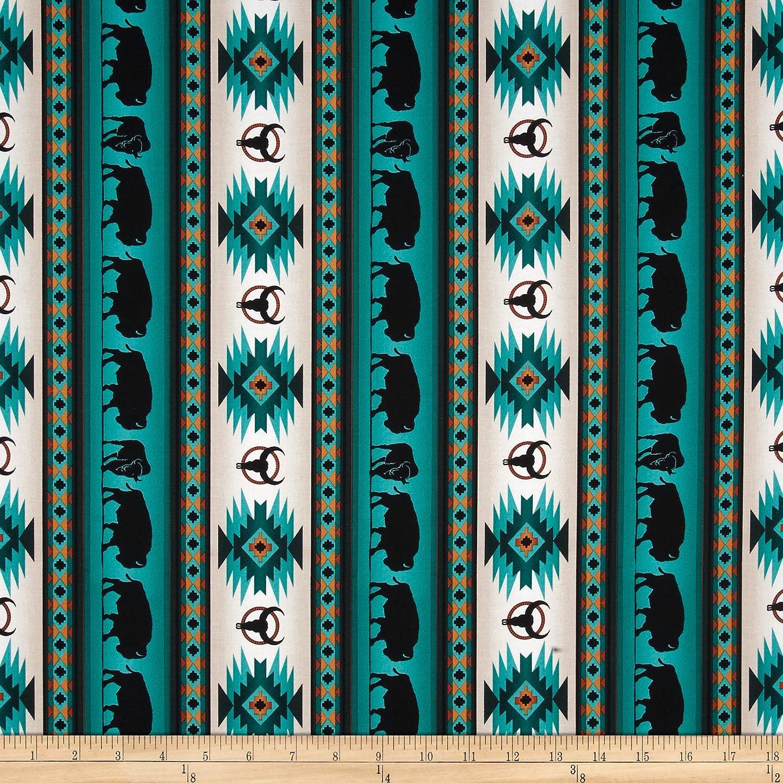 Elizabeths Studio Tucson Buffalo Stripe Turquoise Fabric by The Yard,