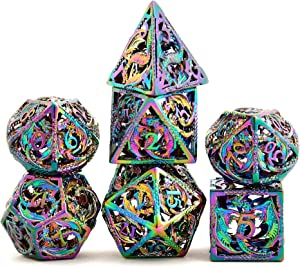 Hollow Metal DND Game Dice Dragon Shape Carved Rainbow Color 7Pcs Set for Dungeons and Dragons RPG MTG Table Games D&D Pathfinder Shadowrun and Math Teaching (with Metal Case) ?-