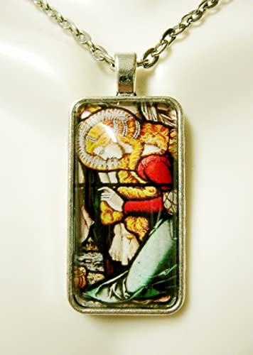 Amazon mary magdalene kneeling at the cross stained glass mary magdalene kneeling at the cross stained glass window pendant and chain ap16 002 mozeypictures Choice Image