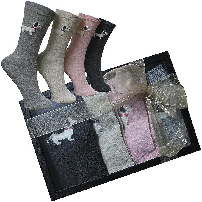 FERETI Calcetines Mujer Caja Regalo Perro Salchicha Teckel San Valentin Ideas Box Moda Chica Regalitos Día Madre Cumpleaños: Amazon.es: Ropa y accesorios