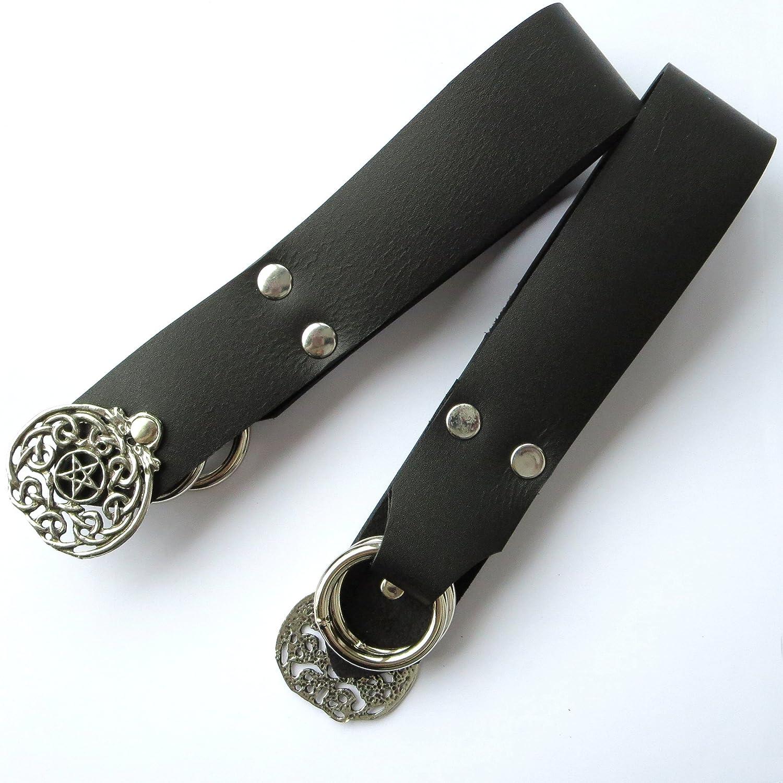 Handmade Black Leather Pentacle Skirt Hikes Set of 2