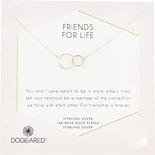 product image for Dogeared Friends For Life Sterling Silver and Rose Gold Dipped Linked Rings Necklace