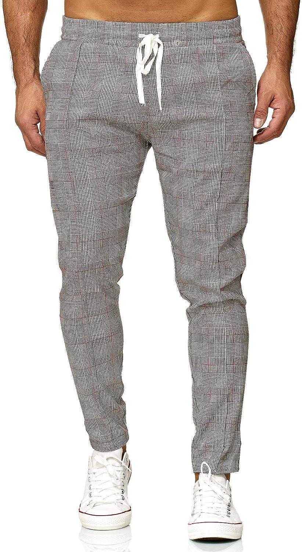 Redbridge Men's Chino Slim-Fit Striped Casual Checked Elastic Fashion Gym Pants Grey