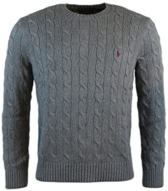 Polo At Crew Gray Cable L Cotton Neck Lauren Mens Sweater Ralph g76yfb