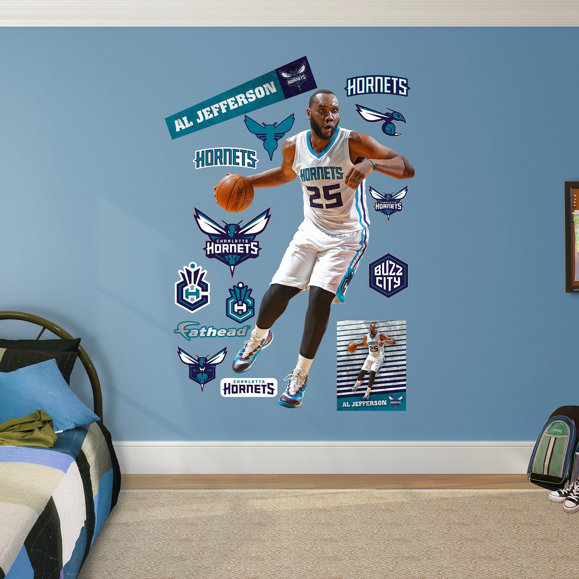 NBA Charlotte Hornets Al Jefferson Fathead Real Big Decals, 49''W x 75''H