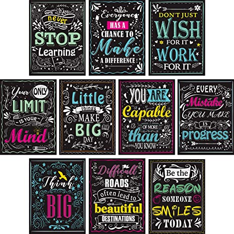Blulu 10 Pieces Motivational Classroom Wall Posters Inspirational Quotes  Positive Posters for Students - Educational Teacher Classroom Decorations  12 ...