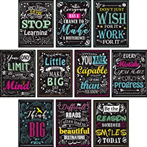 Blulu 10 Pieces Motivational Classroom Wall Posters Inspirational Quotes Positive Posters for Students - Educational Teacher Classroom Decorations 12 x 16 Inch Cardboard with Glue Dots