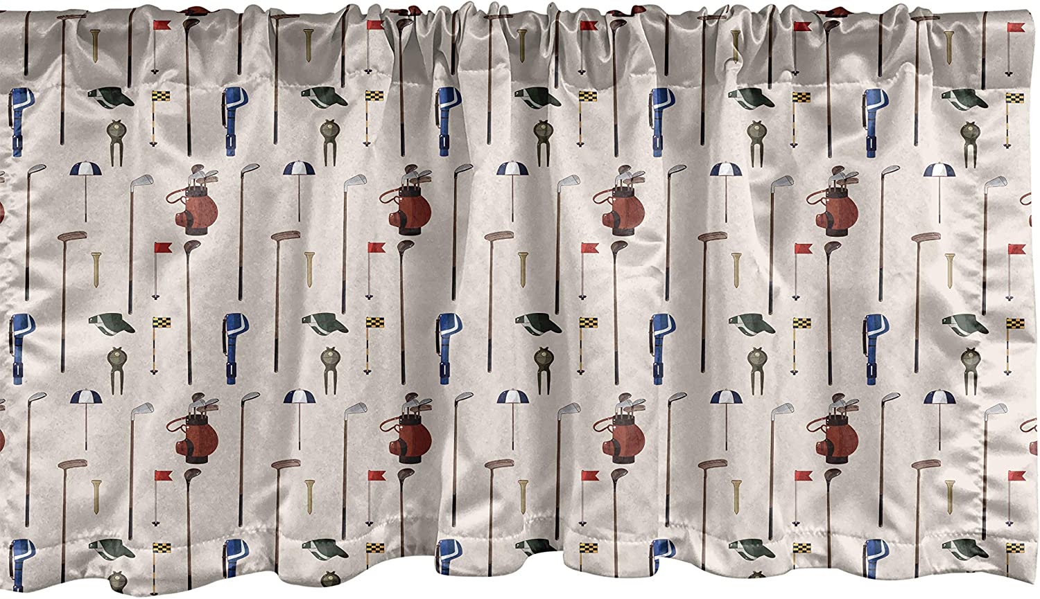 Ambesonne Golf Window Valance, Club and Ball Sport Theme Equipment Stroke Play Golfer Activity Leisure Hobby Design, Curtain Valance for Kitchen Bedroom Decor with Rod Pocket, 54