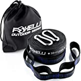 Foxelli Hammock Straps XL – Camping Hammock Tree Straps Set (2 Straps, 2 Carabiners & Bag), 20 ft long combined, 40+2 Loops, 2000 LBS No-Stretch Heavy Duty Straps for Hammock, Compact & Easy to Set Up