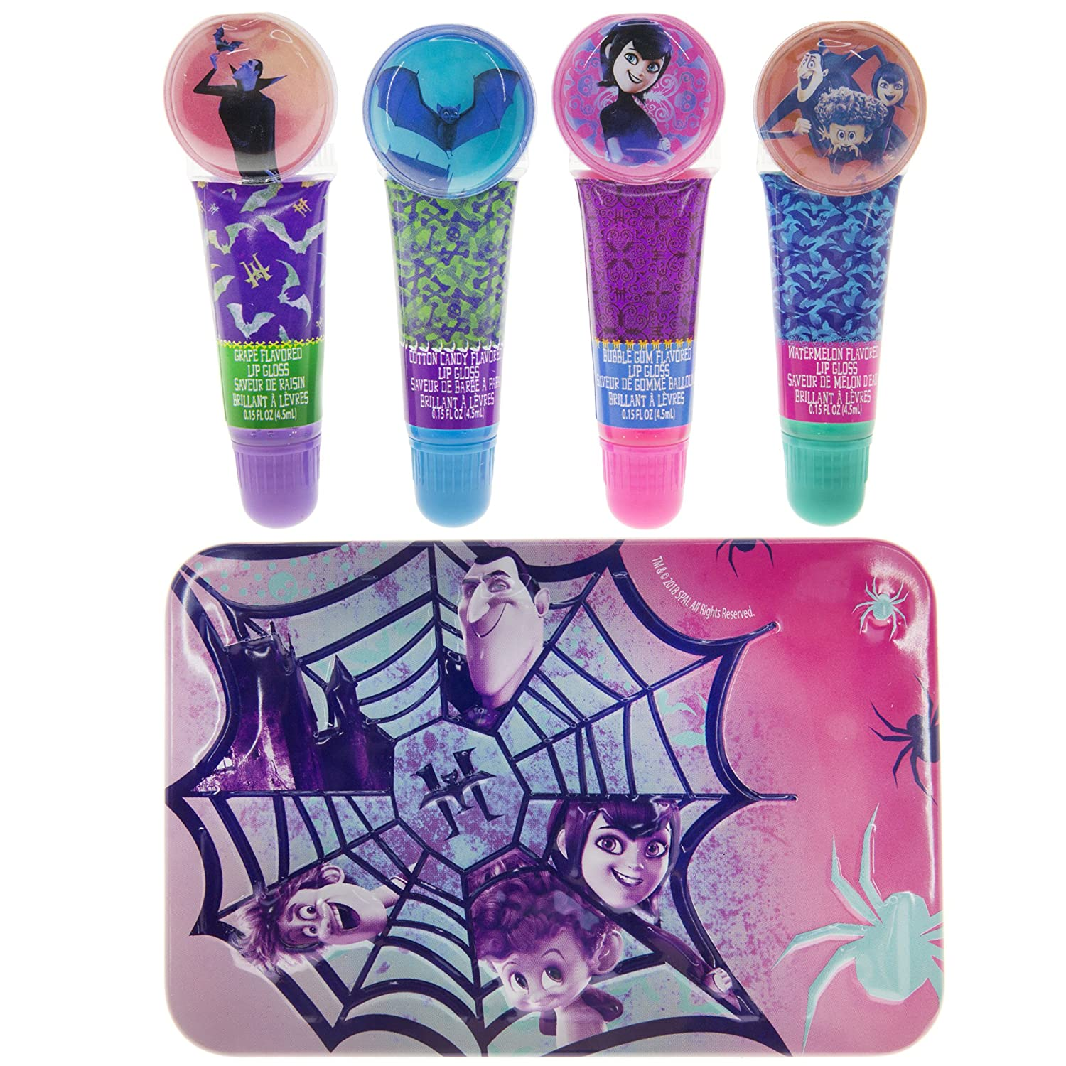 Townley Girl Hotel Transylvania Sparkly Lip Gloss Set For Girls, 4 pack with Decorative Tin TownleyGirl