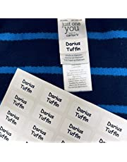 60 Washable Stick on Clothing Name Labels - No-Iron Stickers for School Children, Care Homes, Day Care, Nursery