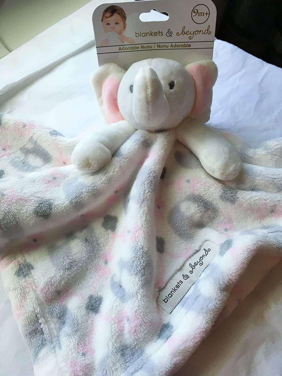 Blankets /& Beyond Pink Elephant Pacifier Holder
