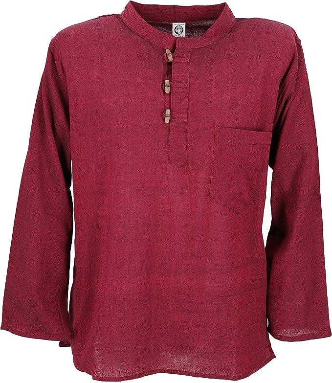 GURU-SHOP, Camisa de Pescador de Nepal Goa Hippie, Rojo Vino, Algodón, Tamaño:S, Camisas de Hombre: Amazon.es: Ropa y accesorios