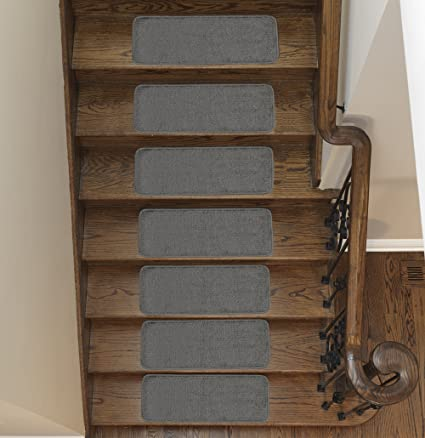 Ottomanson Softy Stair Tread Mats, Skid Resistant, Rubber Backing, Non Slip  Carpet,