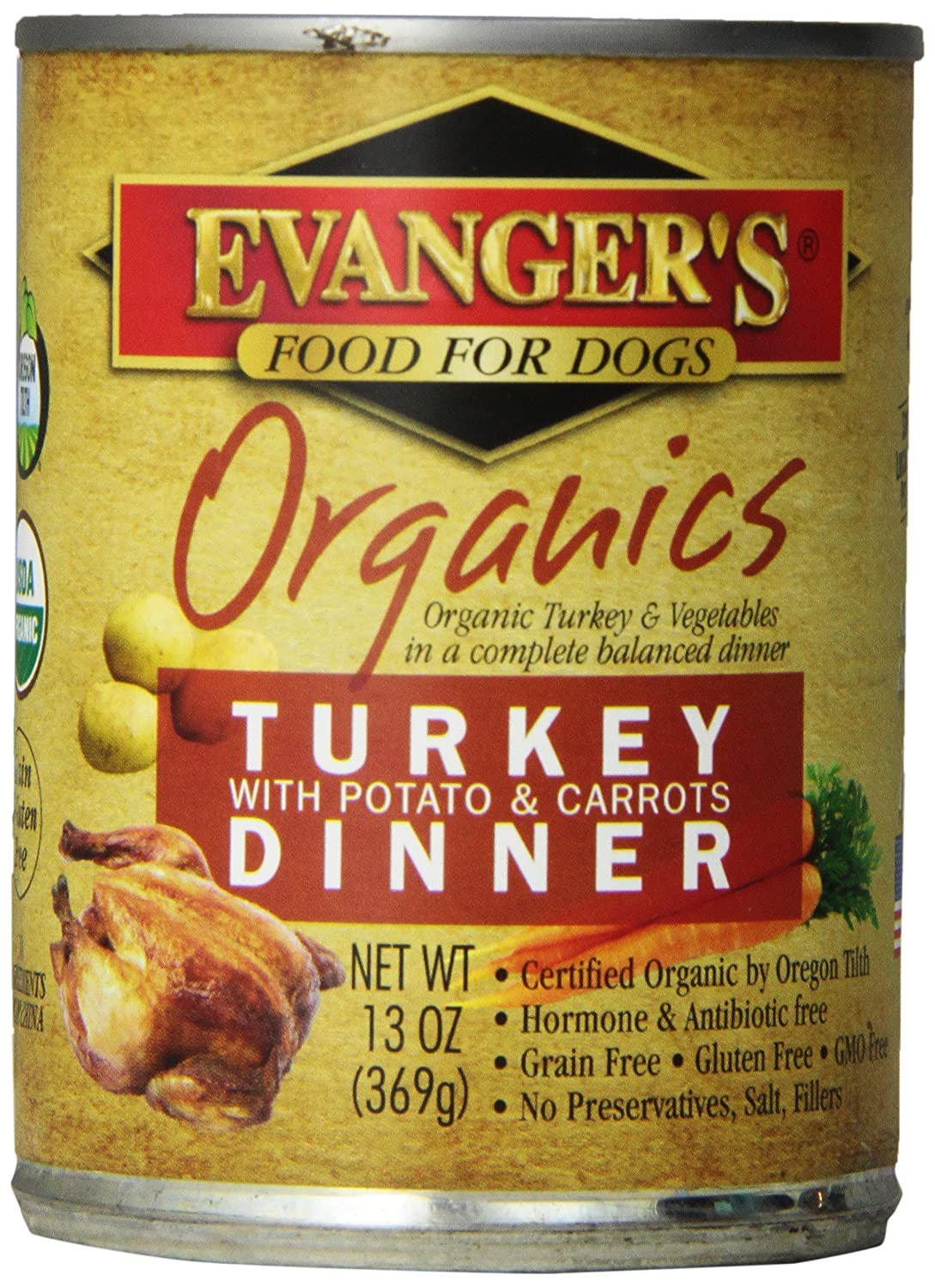 EVANGER'S Organics Turkey with Potato and Carred Dinner for Dogs 12 Pack 13-Ounce Cans