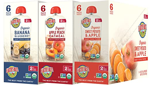 Earth's Best Organic Stage 2 Baby Food, Fruit Variety Pack, 4 oz. Pouch (18 Count)