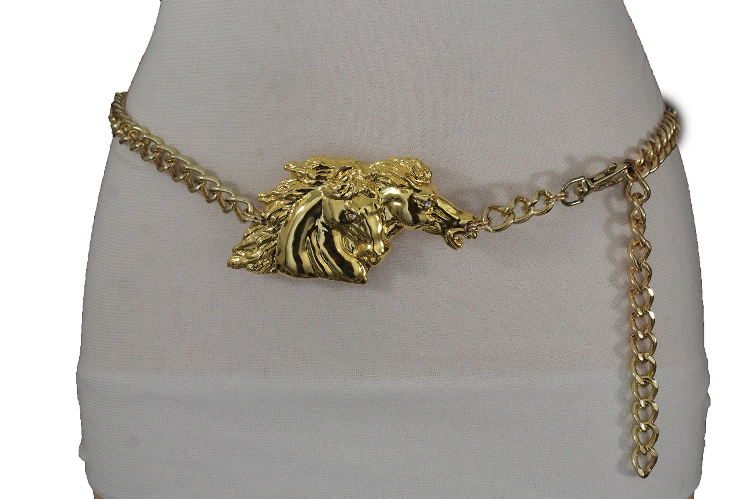 TFJ Women Fashion Belt Hip Waist Metal Chains Horse Buckle Plus M L XL Gold