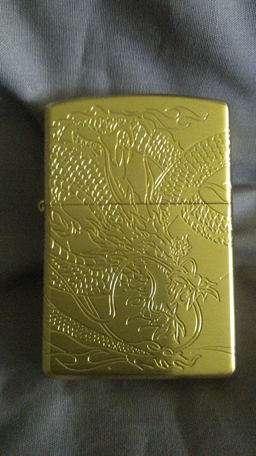 Japanese 4 Sides Engraved Gold Dragon Zippo Lighter Health Personal Care