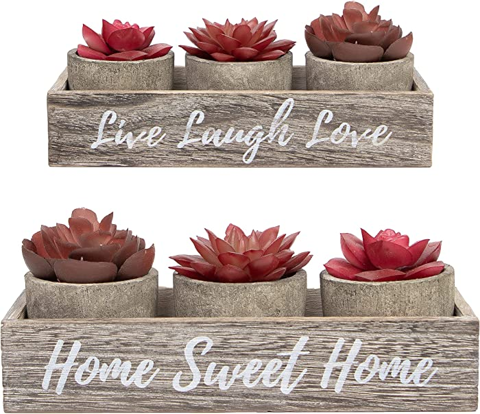 3 Artificial Succulent Plants with Pots with Rustic Planter Box – Home Sweet Home & Live Laugh Love Realistic Greenery Mini Faux Plant for Home Decor Office Table Bathroom Kitchen Dorm - Red