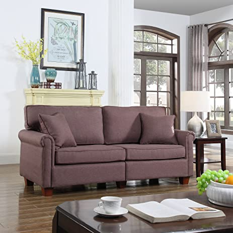 Classic 73 Inch Love Seat Living Room Linen Fabric Sofa (Brown)