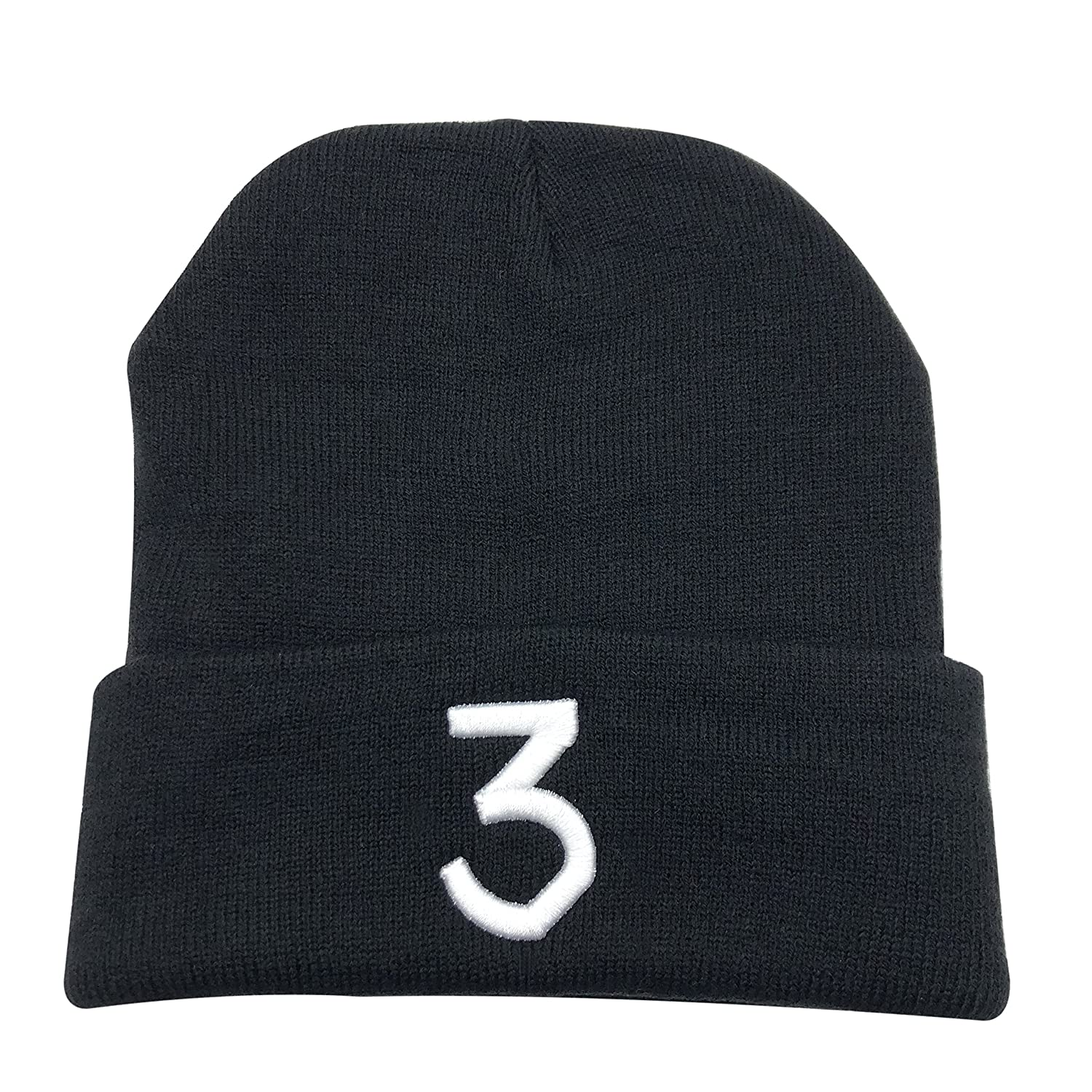 Chance 3 Wang Warm Winter Hat Knit Beanie Skull Cap Embroidered Soft Headwear Unisex